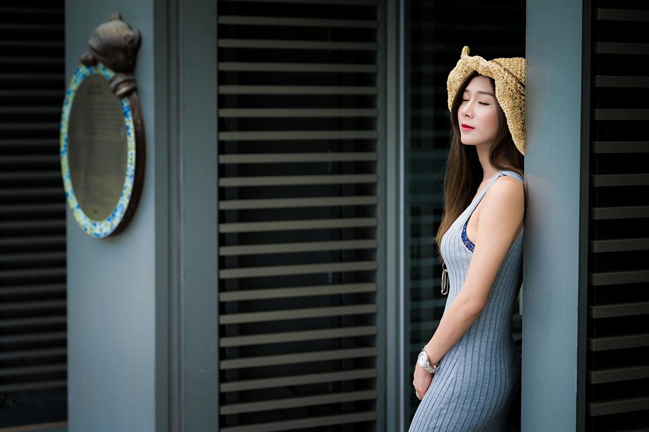 Обои для рабочего стола шатенки боке шляпы Девушки Азиаты Шатенка Размытый фон шляпе Шляпа девушка молодые женщины молодая женщина азиатка азиатки