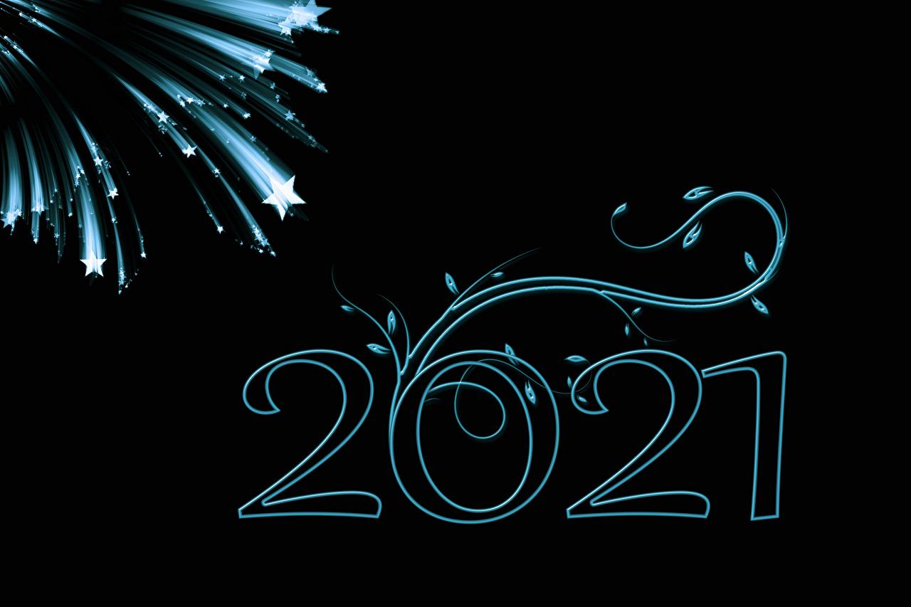 Картинка 2021 Новый год Звездочки Черный фон Рождество на черном фоне