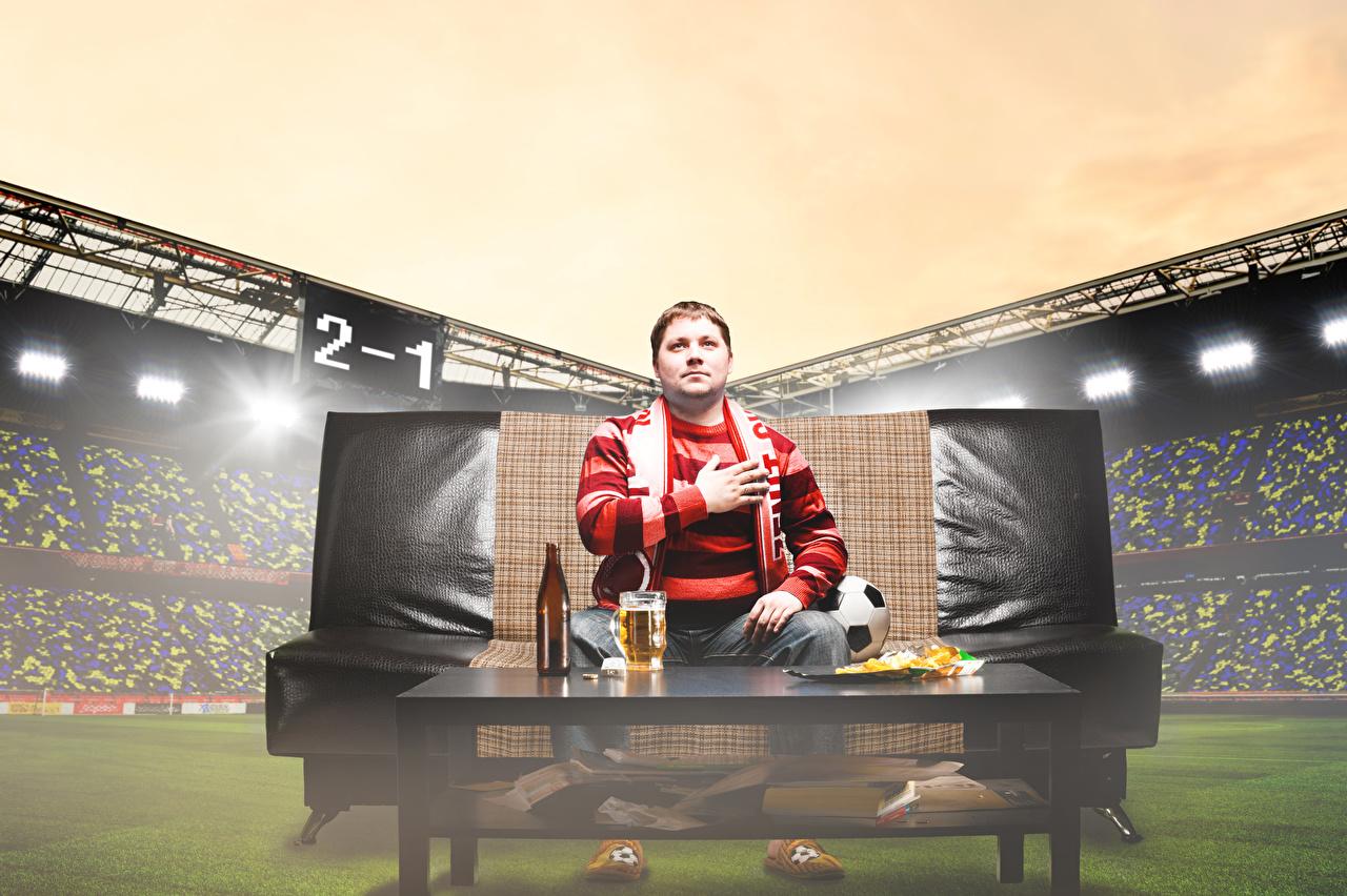 Фотография Мужчины Пиво Футбол спортивные Стадион Диван мужчина Спорт спортивный спортивная диване
