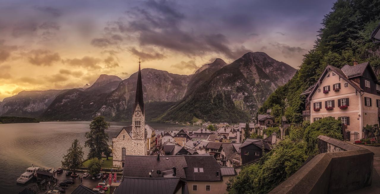 Обои для рабочего стола Халльштатт Австрия Горы Озеро Дома город гора Города Здания