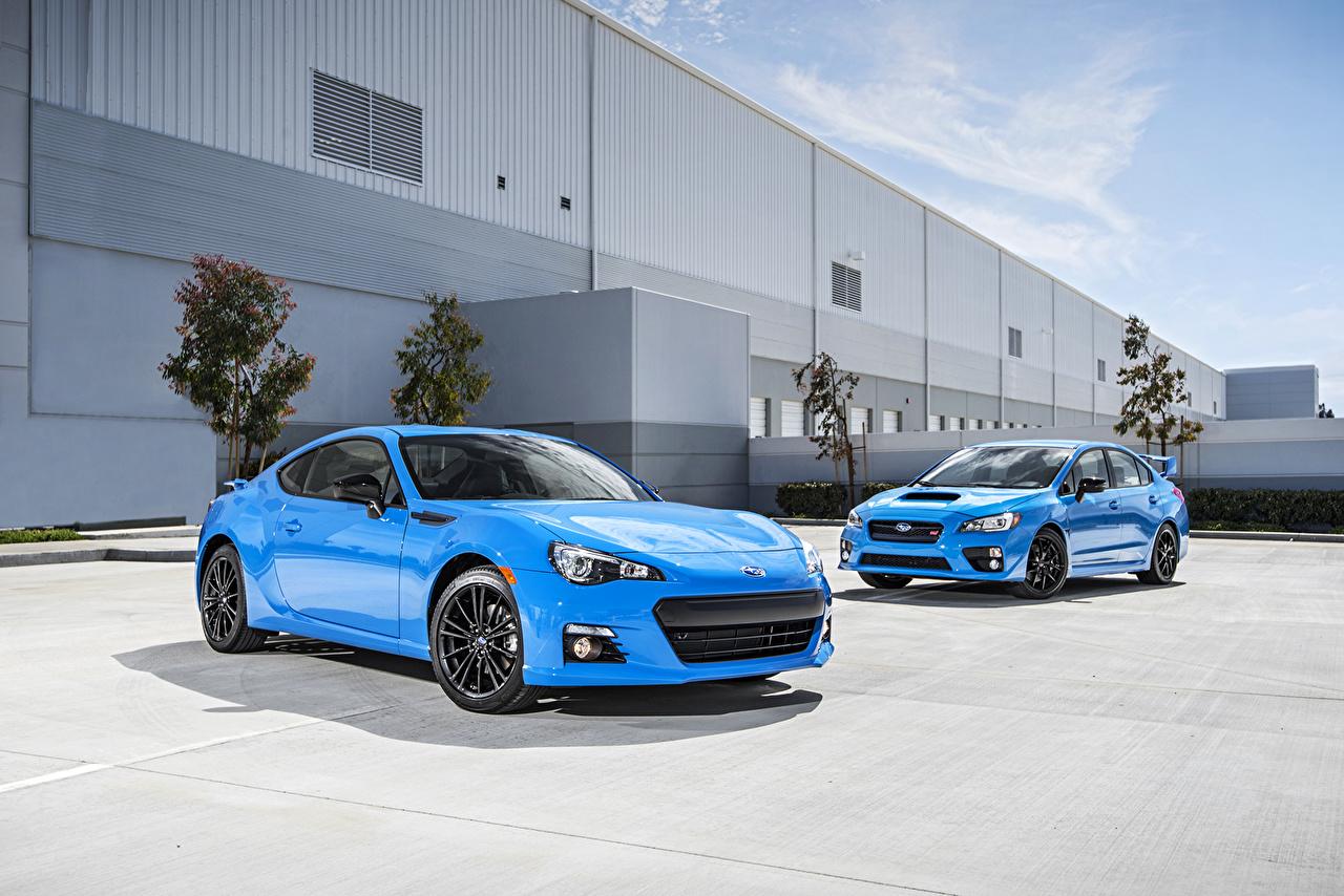 Фотографии 2016 Subaru BRZ HyperBlue 2 голубые Металлик Автомобили два две Двое вдвоем голубая Голубой голубых авто машины машина автомобиль