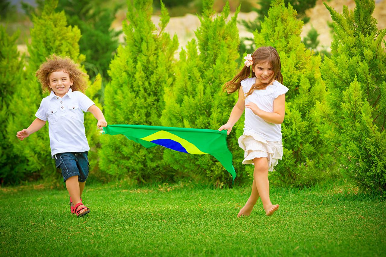 Фотография девочка Мальчики ребёнок флага траве Газон Девочки мальчик мальчишка мальчишки Дети Флаг Трава газоне