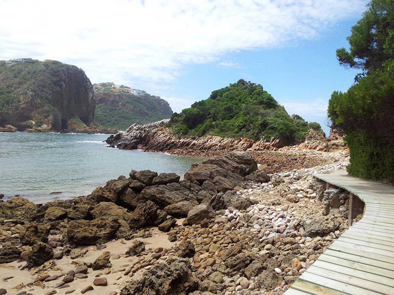 Картинки ЮАР knysna Море тропы скале Природа Небо Камень Южно-Африканская Республика Утес Тропа скалы Скала тропинка Камни