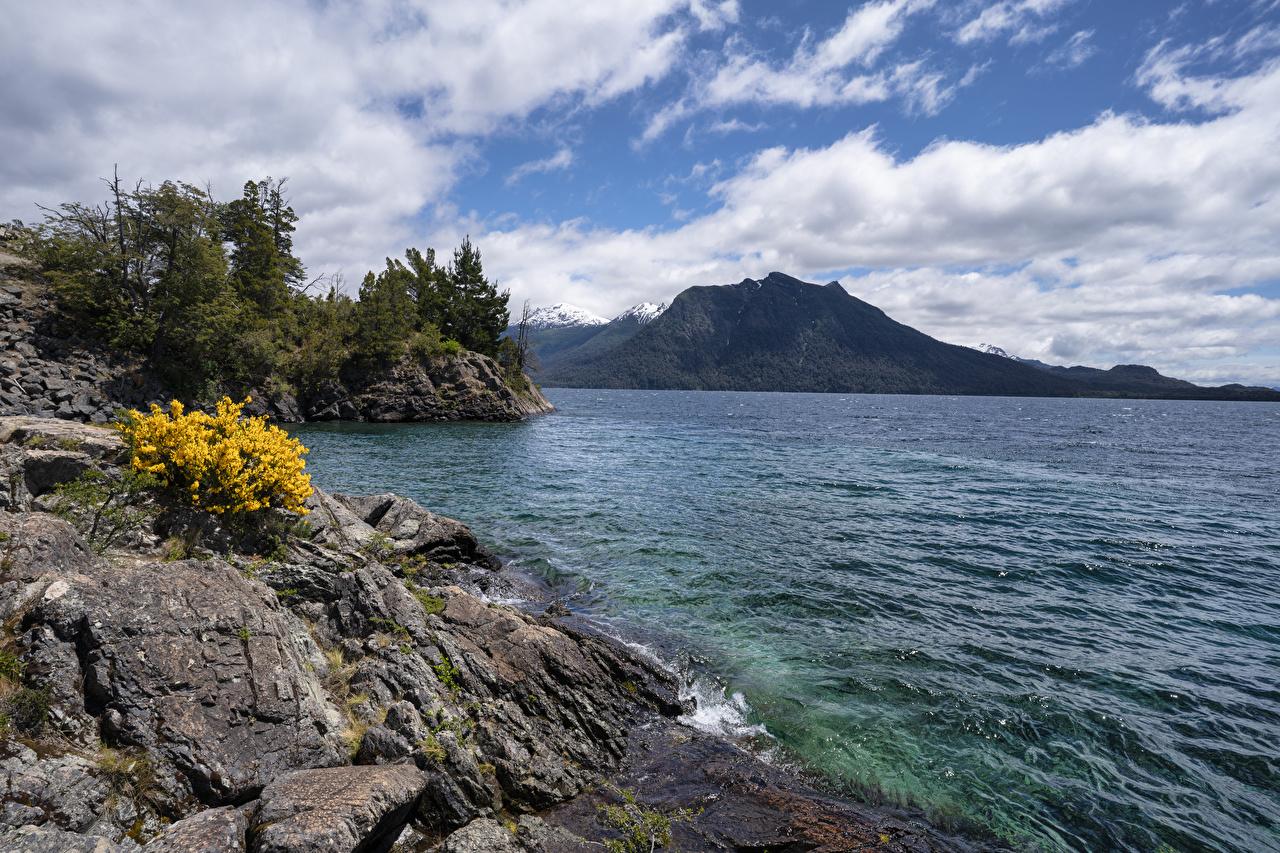 Фотографии Чили Lago Nahuel Huapi Patagonia скале Природа Озеро Побережье Утес Скала скалы берег