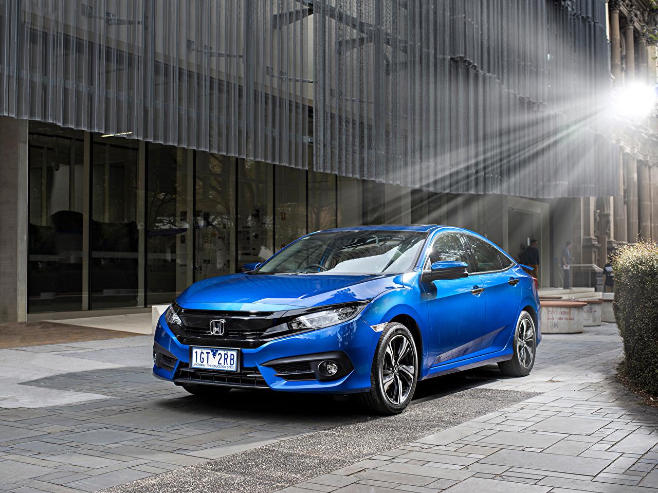 Обои для рабочего стола Honda 2016 Civic Sedan RS Седан синяя Металлик Автомобили Хонда синих синие Синий авто машина машины автомобиль