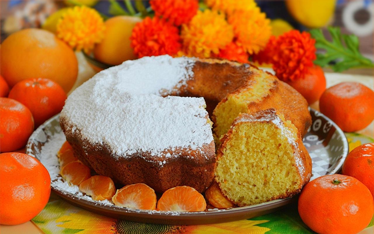 Картинка Пирог Мандарины Сахарная пудра Еда Пища Продукты питания