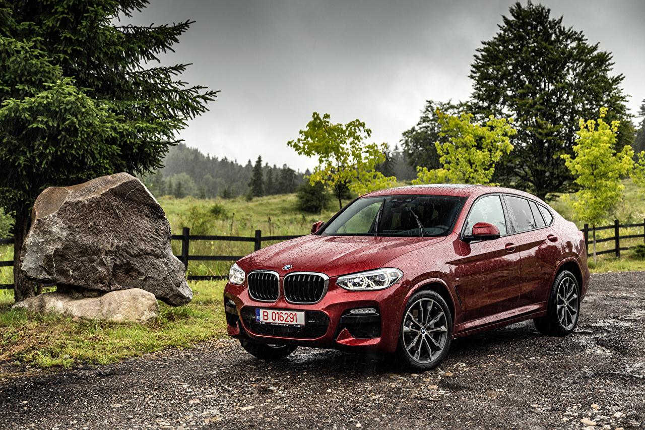 Обои для рабочего стола BMW 2018 X4 xDrive25d M Sport Worldwide бордовая Дождь Металлик Автомобили БМВ Бордовый бордовые темно красный авто машина машины автомобиль
