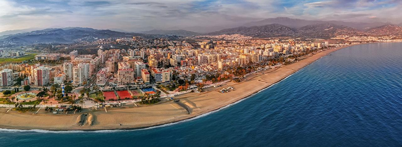 Фотография Испания Andalusia, Mediterranean Sea, Torre del Mar пляже Море Сверху Побережье Дома Города Пляж пляжи пляжа берег город Здания