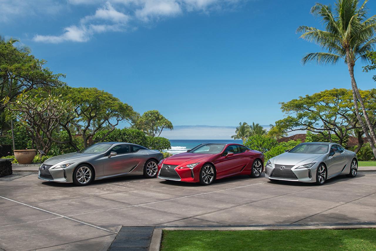 Фотографии Lexus LC Трое 3 машины Лексус три авто машина втроем автомобиль Автомобили