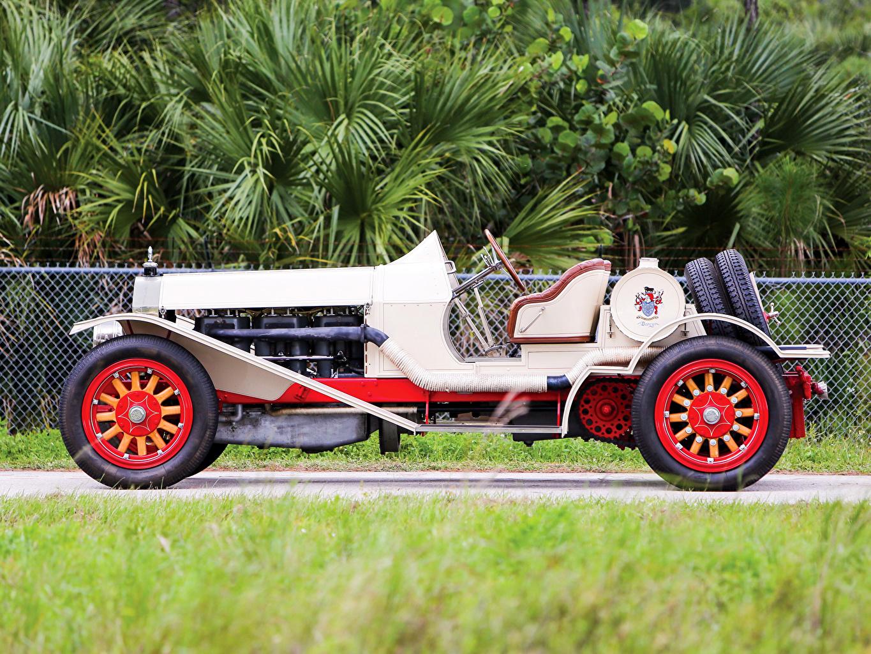 Ретро 1915 American LaFrance Белый Сбоку Кабриолет Авто, Машины, Винтаж, старинные, вид Автомобили