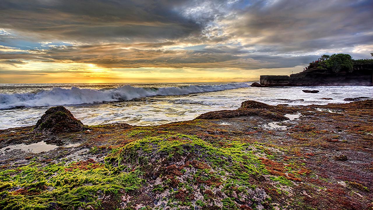 Фото Природа Небо Волны Пейзаж Рассветы и закаты берег рассвет и закат Побережье