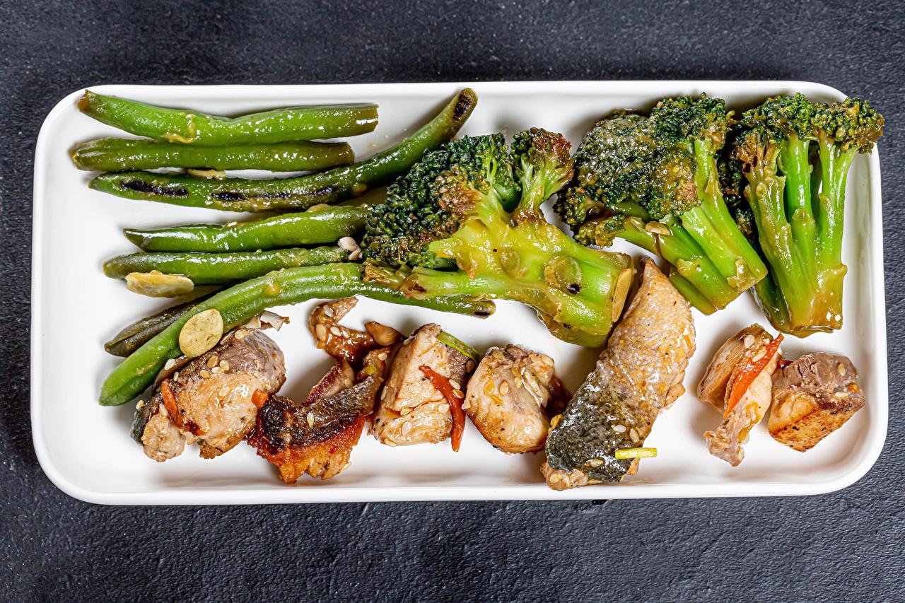 Обои для рабочего стола Спаржа Рыба Брокколи Еда Овощи Пища Продукты питания