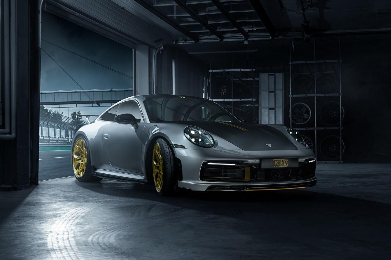 Картинка Porsche 911 Carrera TechArt 992 2019 серая Автомобили Порше серые Серый авто машина машины автомобиль