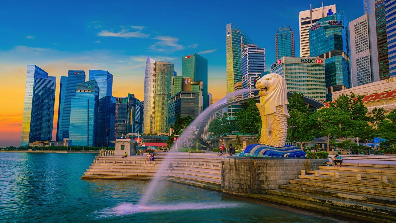 Картинки Сингапур Фонтаны HDR Лестница город Здания скульптура HDRI лестницы Дома Города Скульптуры
