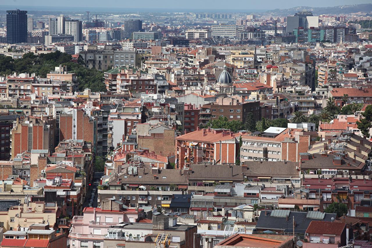 Фотографии Барселона Испания Мегаполис Дома Города мегаполиса Здания
