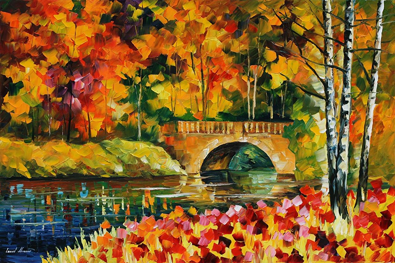Картинка Leonid Afremov мост осенние картина Мосты Осень Живопись
