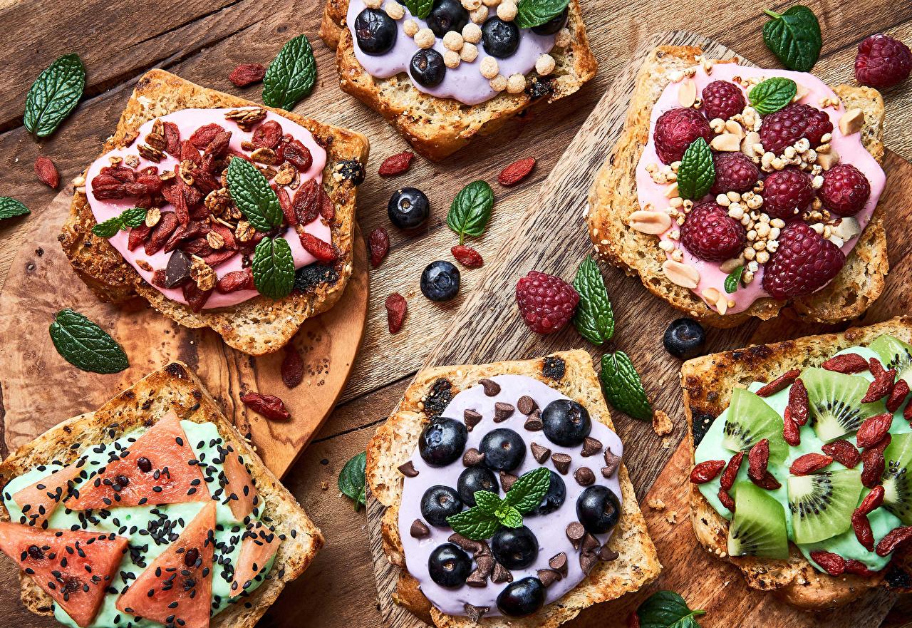 Фотографии Шоколад Изюм Хлеб Киви Малина Арбузы Черника Бутерброды Семечки подсолнечника Пища бутерброд Еда Продукты питания