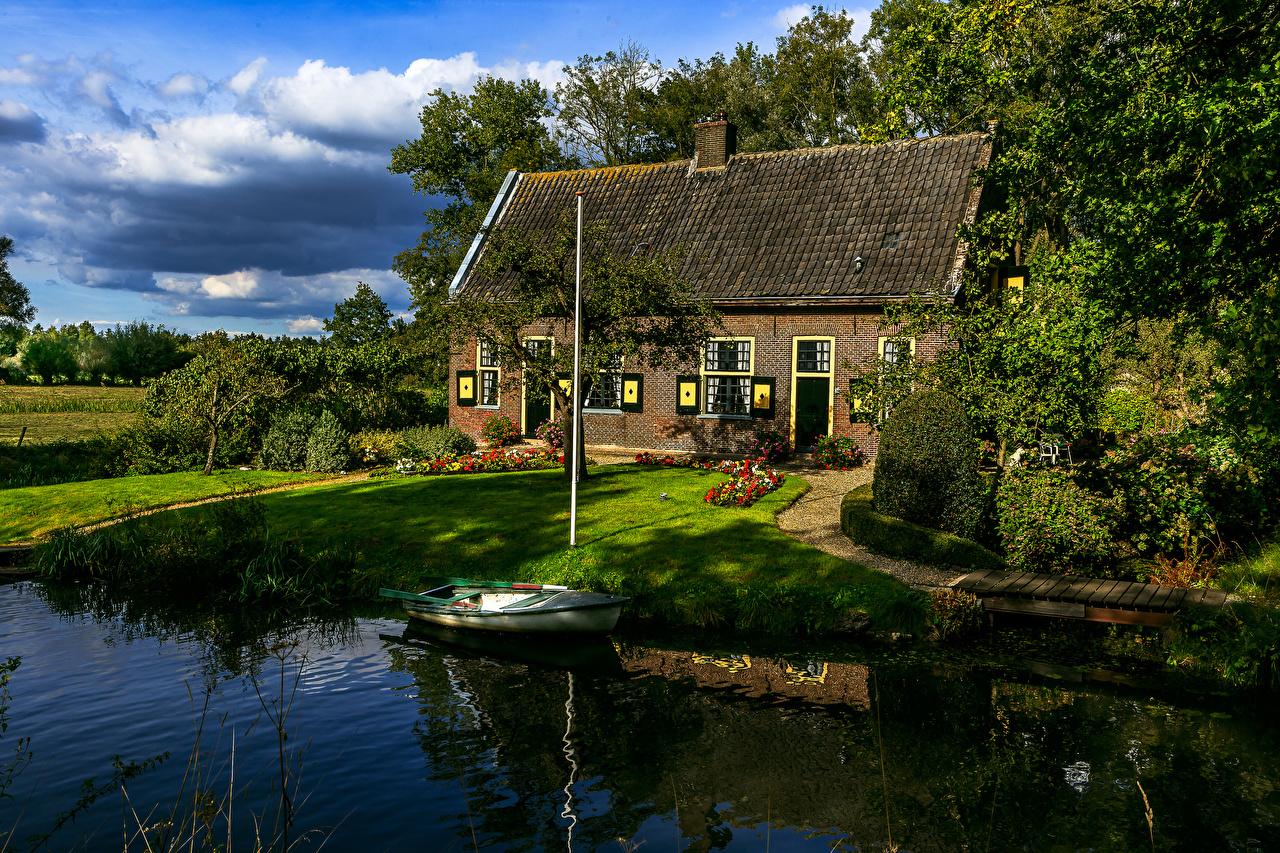 Фотографии голландия Utrecht Лодки Дома Города Нидерланды город Здания