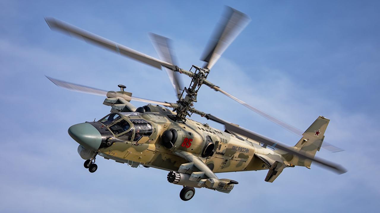 Картинка вертолет российские ka-52 alligator Полет Авиация Вертолеты Русские летят летит летящий