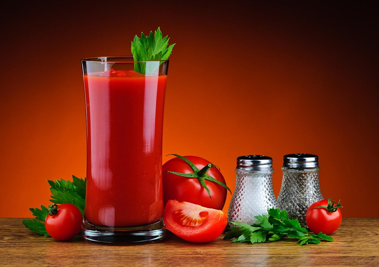 Картинка Сок Помидоры Стакан Еда Томаты стакана стакане Пища Продукты питания