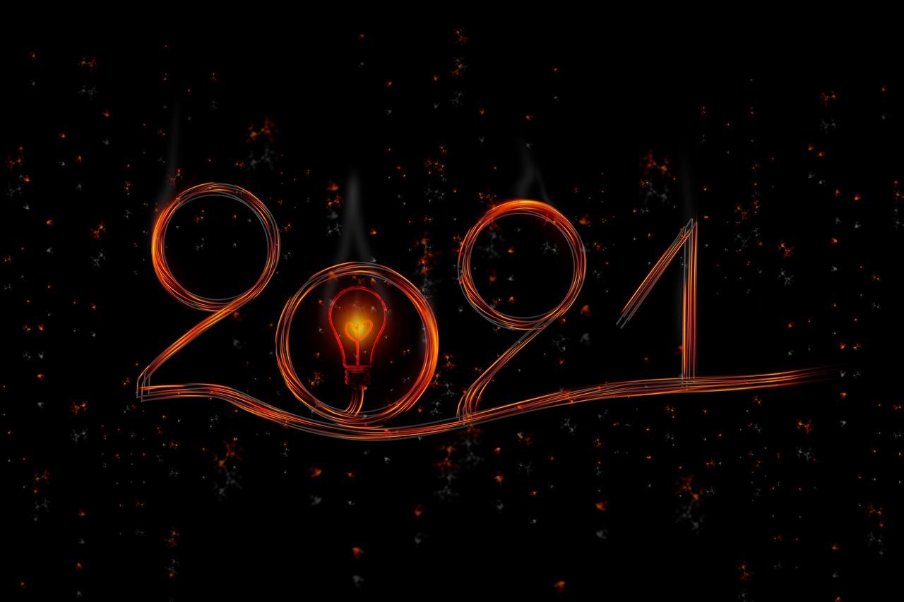 Обои для рабочего стола 2021 Новый год Лампочка Черный фон Рождество лампа накаливания на черном фоне