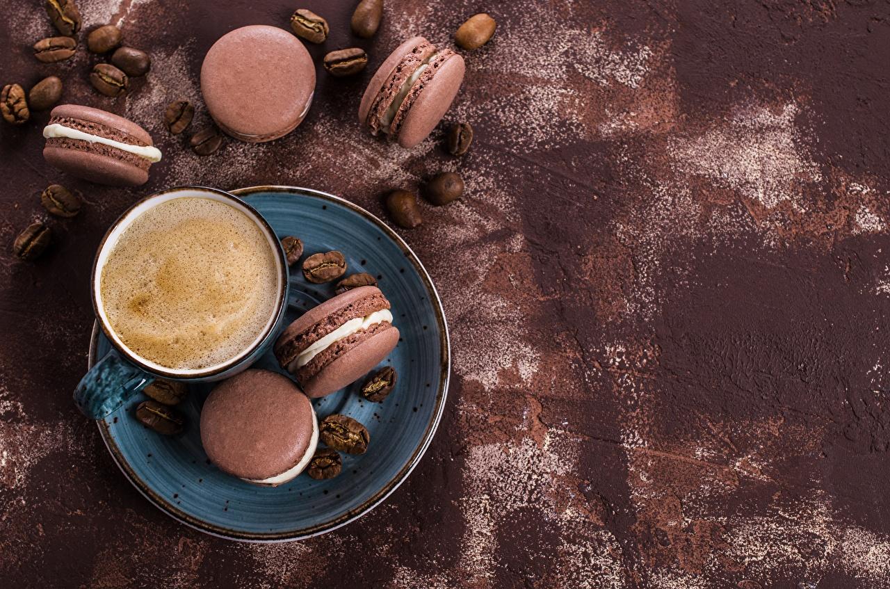 Картинка Макарон Кофе Еда чашке Печенье Пища Чашка Продукты питания