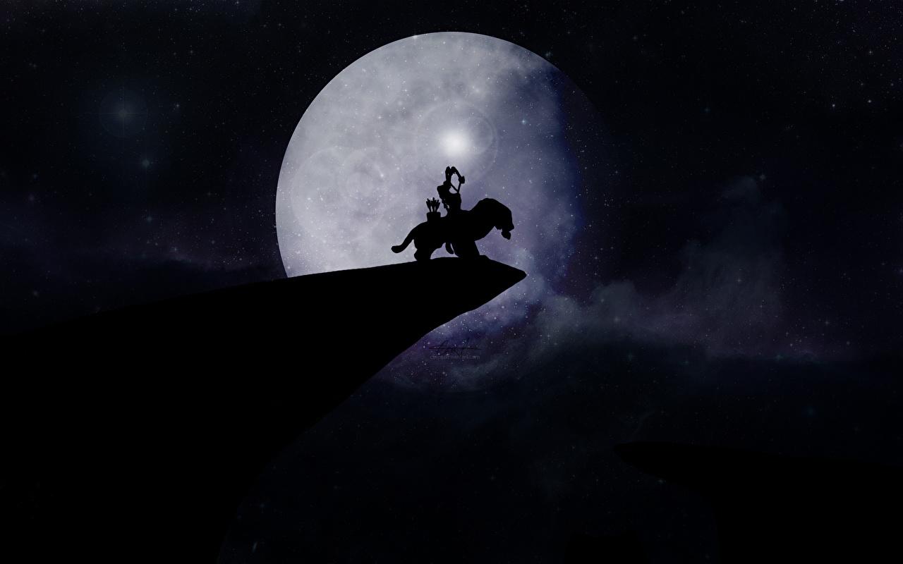 Фотографии DOTA 2 Mirana Лучники Воители силуэты Фэнтези Игры Луна Волшебные животные Мирана воин воины Силуэт силуэта Фантастика луны луной компьютерная игра