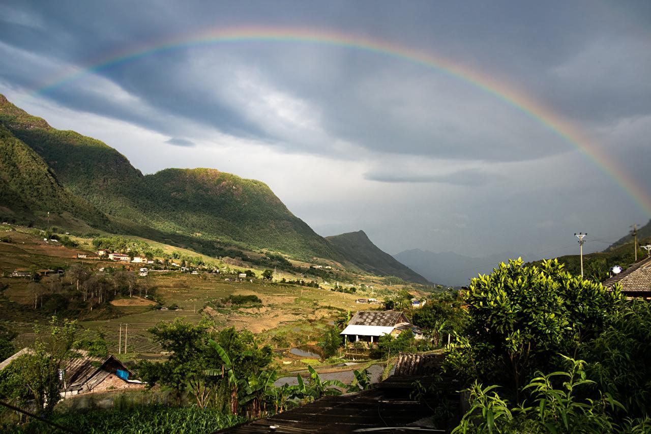 Картинки Вьетнам село Lao Cai гора Радуга Природа Небо Поля Дома Деревня поселок Горы радуги Здания