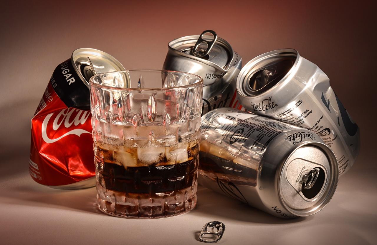 Обои для рабочего стола Coca-Cola tin can Стакан Продукты питания напиток Кока-кола стакане стакана Еда Пища Напитки
