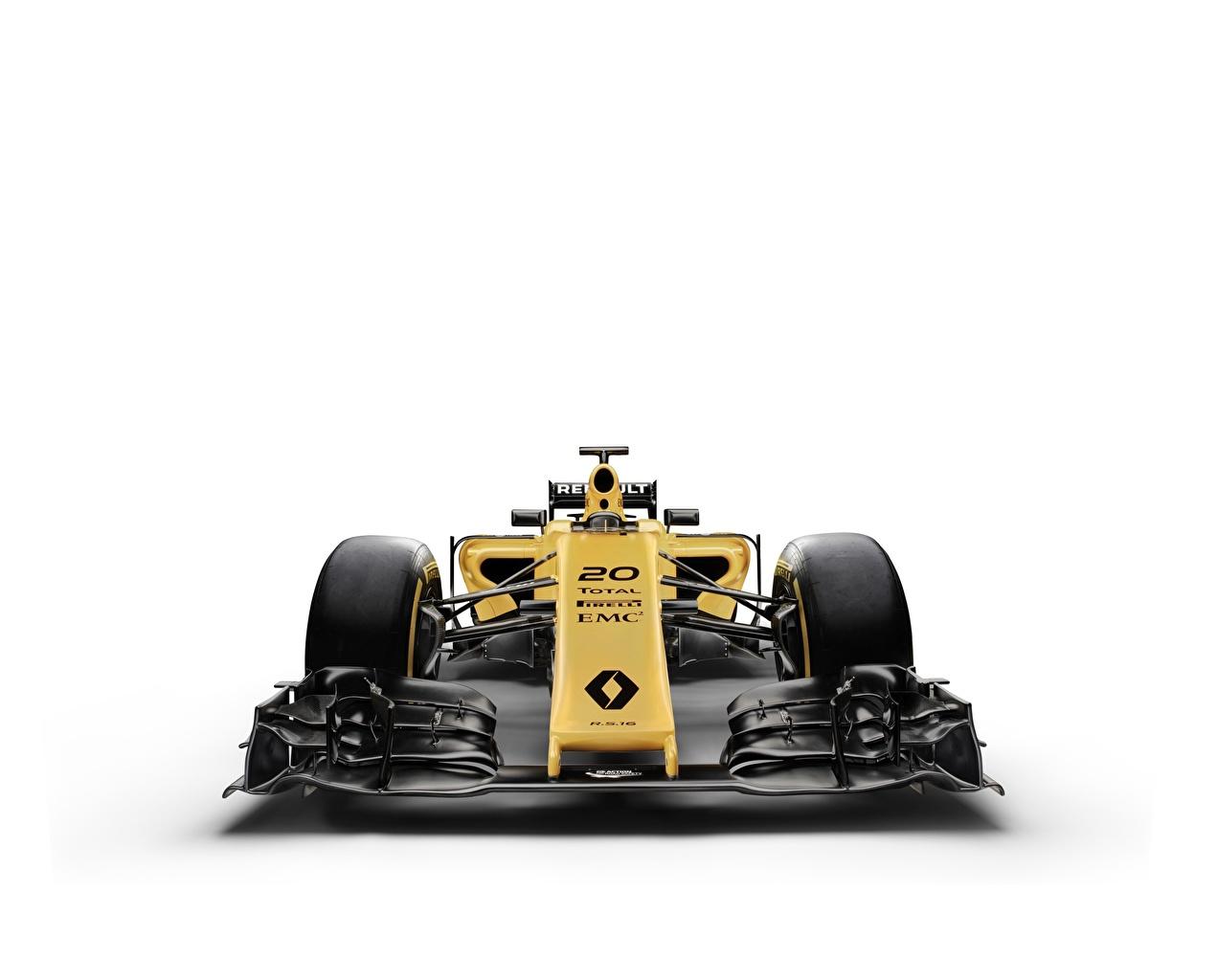 Фото Рено R.S.16 Формула 1 автомобиль белым фоном Renault авто машины машина Автомобили Белый фон белом фоне
