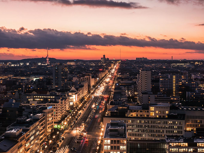 Фотография Берлин Германия Дороги Вечер Сверху Города Здания Дома