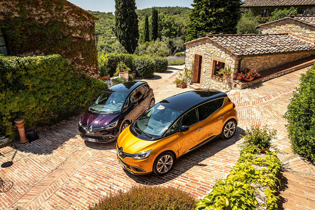 Фото Рено 2016-18 Scenic Двое машина Металлик Renault 2 два две вдвоем авто машины автомобиль Автомобили