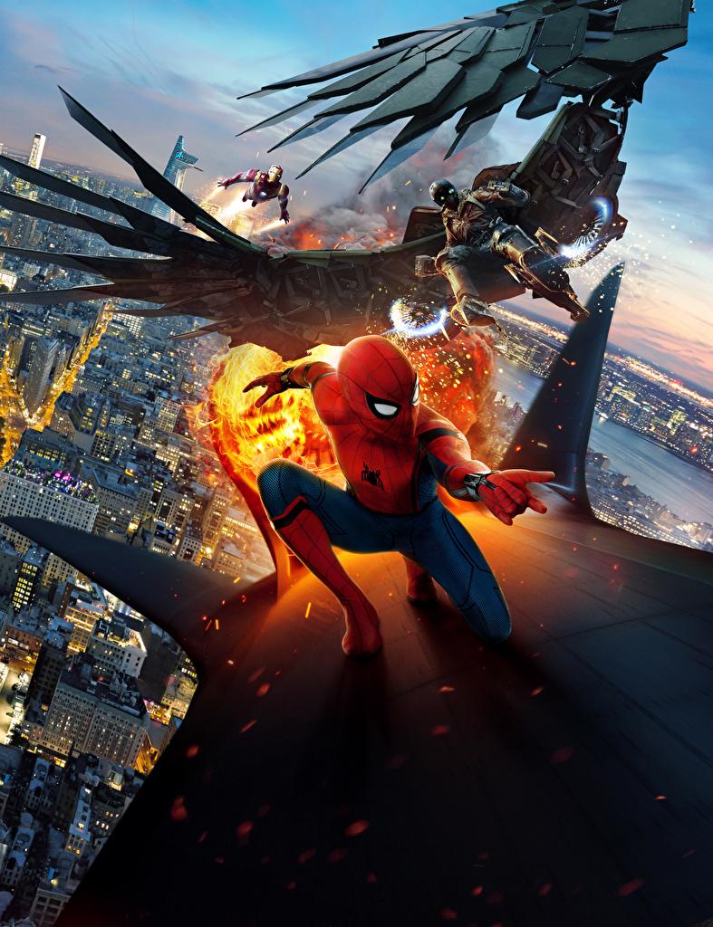 Картинка Человек-паук: Возвращение домой Герои комиксов Человек паук герой Железный человек герой Vulture Фильмы  для мобильного телефона супергерои кино