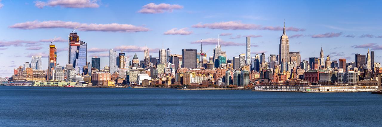 Картинки Нью-Йорк США Панорама Midtown Небоскребы Здания Города штаты америка панорамная Дома город