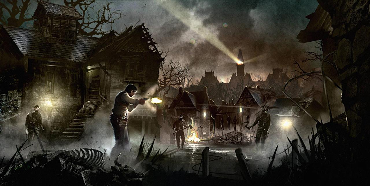 Картинка Alan Wake Призрак Мужчины Деревня Фэнтези компьютерная игра ночью Дома Привидение мужчина село поселок Фантастика Игры Ночь в ночи Ночные Здания