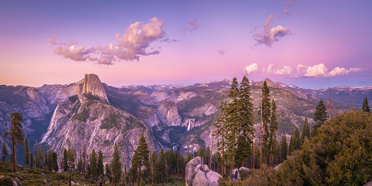 Картинка Йосемити Калифорния америка Панорама Glacier Point Горы Скала Природа Парки Пейзаж дерева калифорнии США штаты панорамная гора Утес скале скалы парк дерево Деревья деревьев