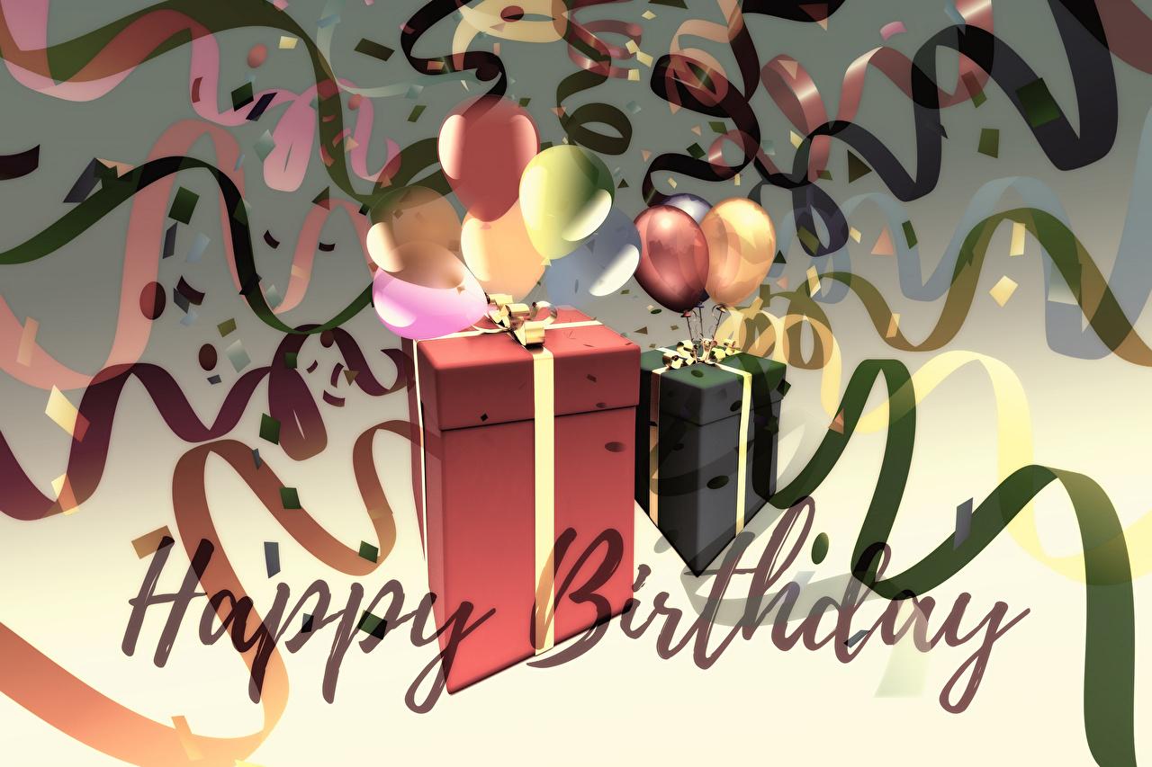Обои для рабочего стола День рождения инглийские коробке подарок Слово - Надпись Шарики ленточка английская Английский слова текст коробки Коробка Подарки подарков Шар Лента