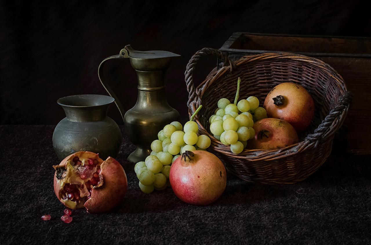 Обои для рабочего стола Гранат Корзина кувшины Виноград Еда Кувшин корзины Корзинка Пища Продукты питания