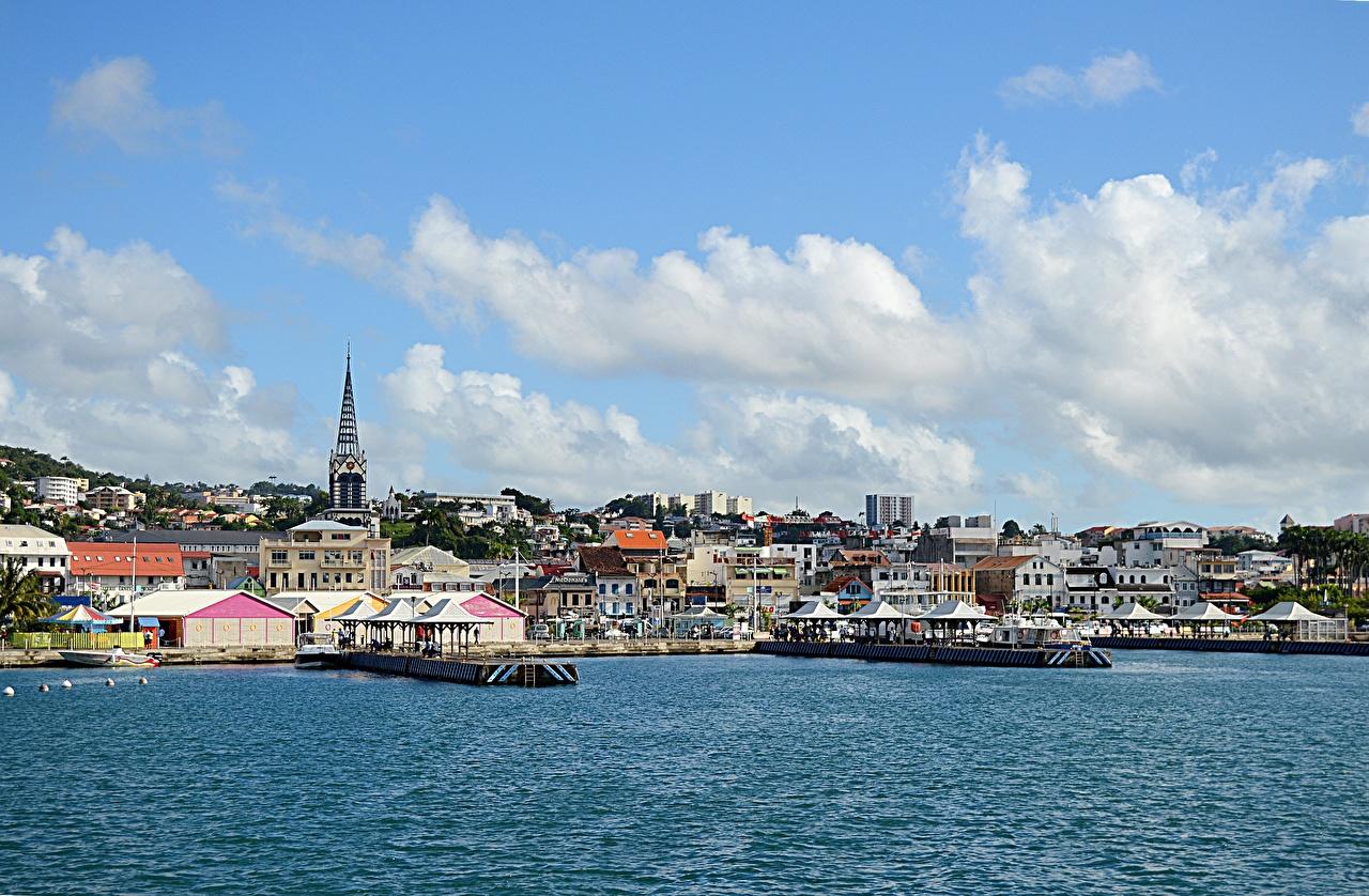 Фотография Caribbean sea, Martinique, Fort-De-France Причалы Города Здания Пирсы Пристань Дома