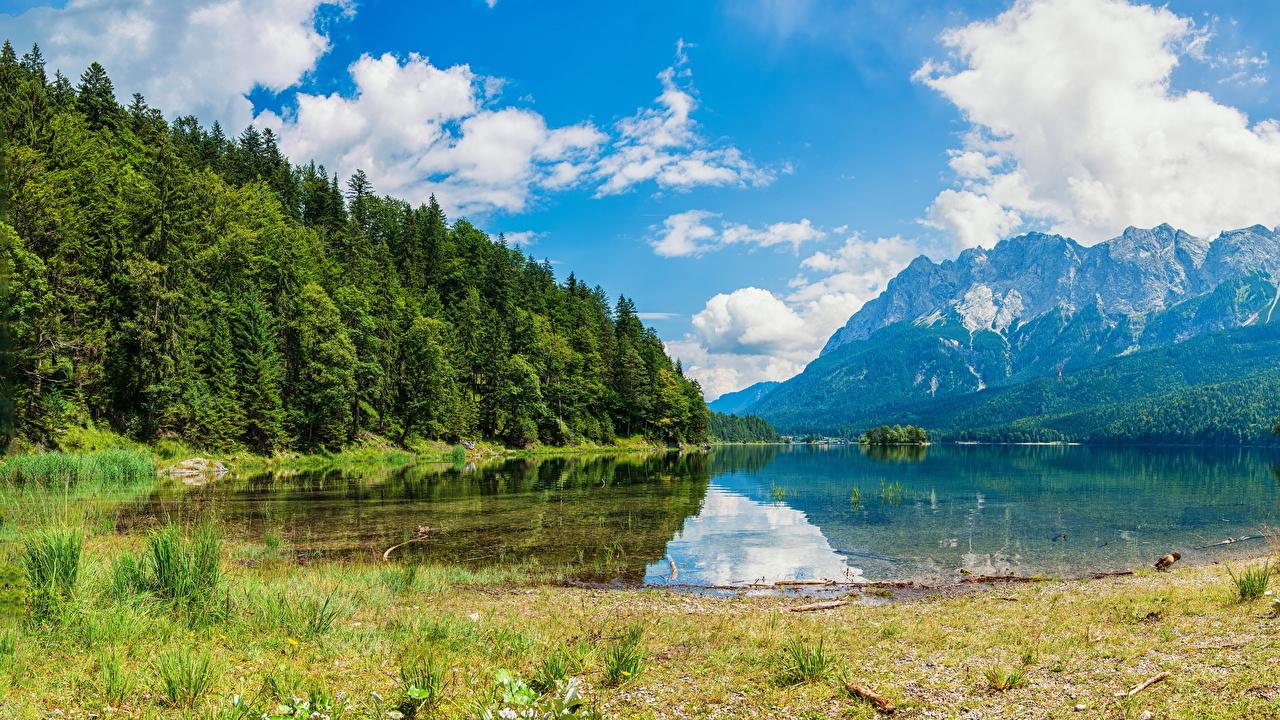 Картинки Альпы Швейцария Wasserauen Горы Природа Леса Озеро