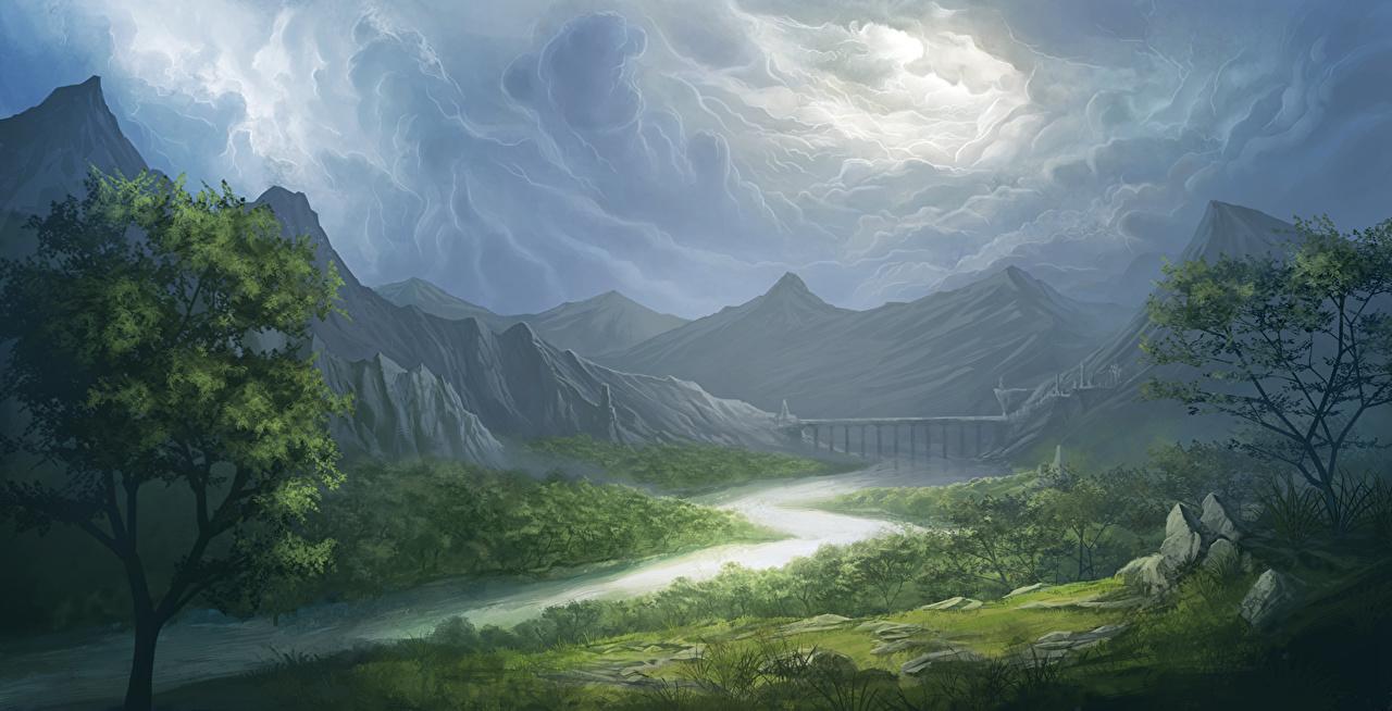 Картинки Тучи гора Природа Пейзаж река туч Горы Реки речка
