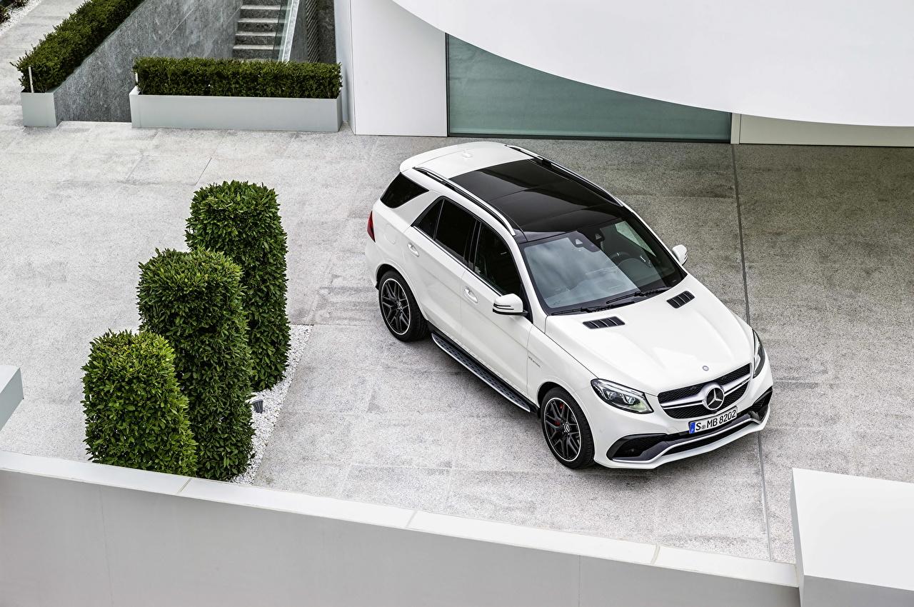 Фото Мерседес бенц 2015 GLE 63 AMG белая Металлик автомобиль Mercedes-Benz Белый белые белых авто машины машина Автомобили