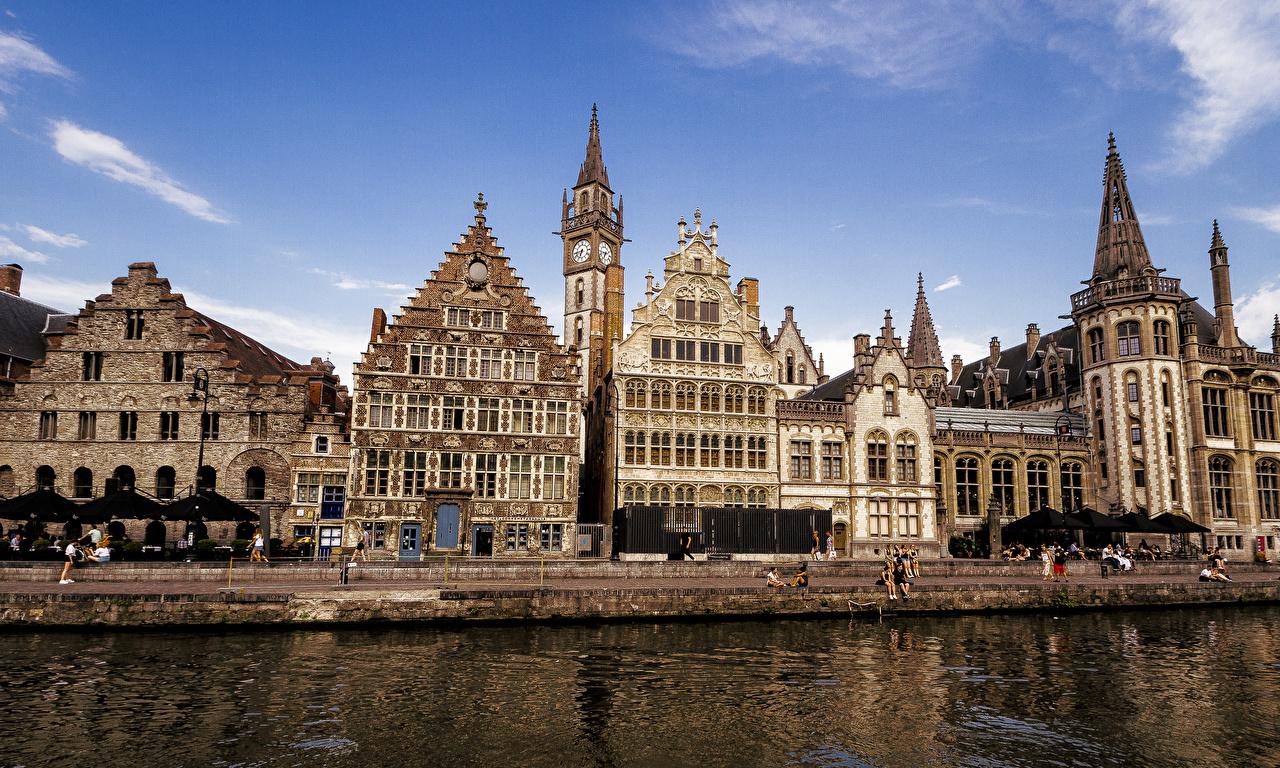 Картинка Бельгия Gent Водный канал Набережная Дома Города Здания