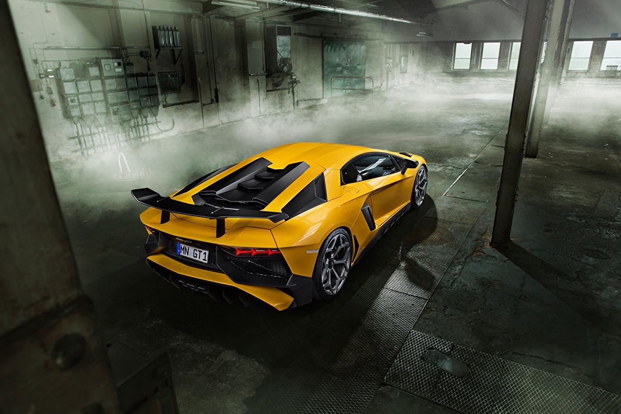 Фото Ламборгини Aventador LP 750-4 SV Novitec Желтый Сзади Автомобили Lamborghini желтых желтые желтая авто машина машины вид сзади автомобиль