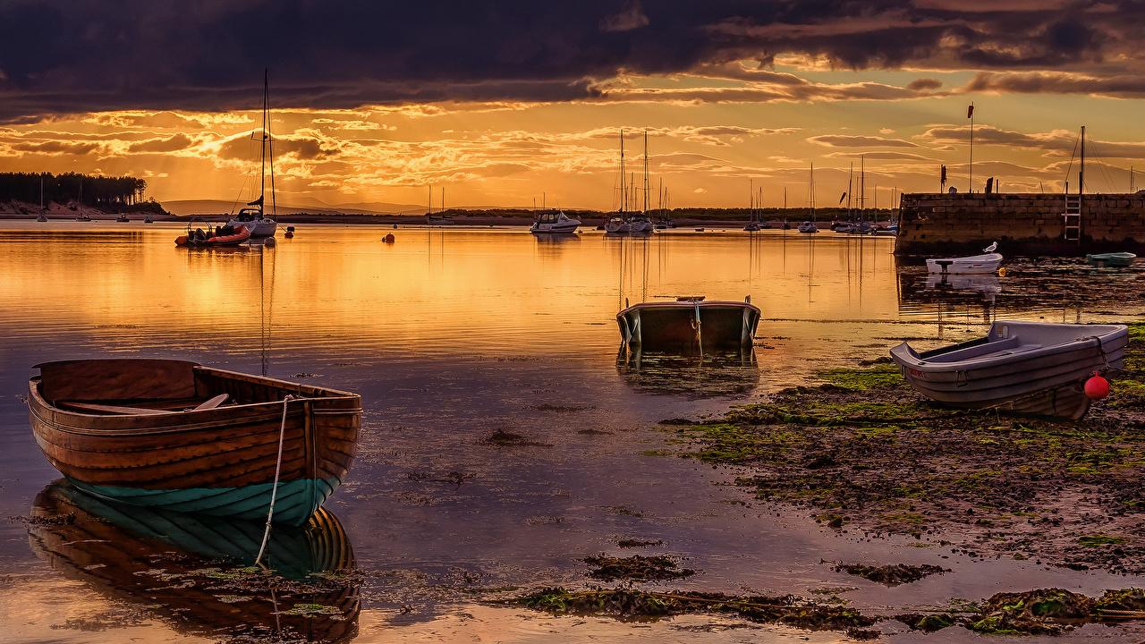 Фото Море Природа Рассветы и закаты Лодки рассвет и закат