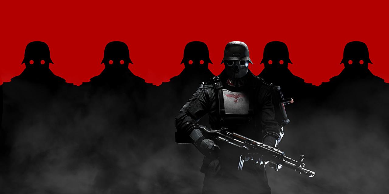 Обои для рабочего стола Wolfenstein солдат Воители Автоматы Силуэт Военная каска The New Order компьютерная игра Солдаты воин воины автомат автоматом силуэты силуэта Игры