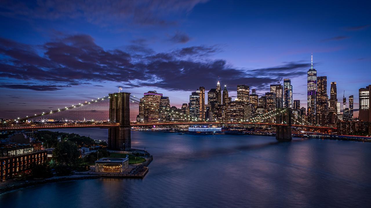 Фото Нью-Йорк Манхэттен америка Brooklyn Bridge Мосты Небоскребы Дома город США штаты мост Здания Города