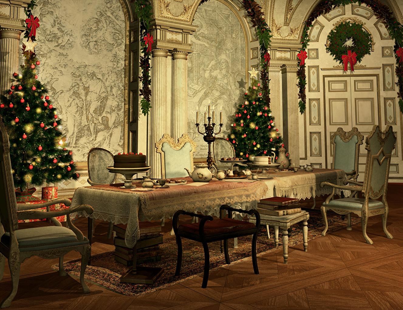 Картинка Рождество 3D Графика Новогодняя ёлка Интерьер Стол Стулья Дизайн Новый год Елка
