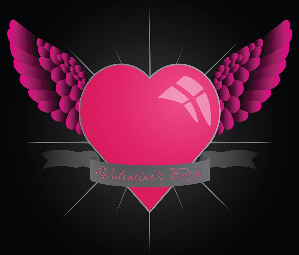 Картинки День всех влюблённых Английский Сердце Крылья 3D Графика День святого Валентина сердечко