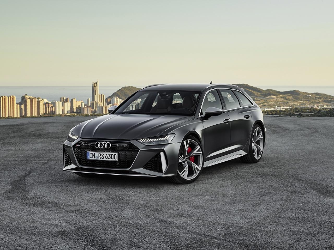 Фотография Ауди Универсал Avant RS 6 2019 серая машина Audi серые Серый авто машины автомобиль Автомобили